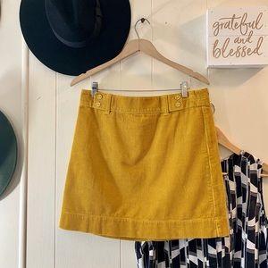 Loft marigold cord mini skirt w/ button detail